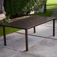 74 x 42 inch Patio Dining Table in Mocha Brown with Center Umbrella Hole CRAPD5196812
