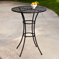 Black Wrought Iron Outdoor Bistro Patio Table with Timeless Round Tabletop SWM519814