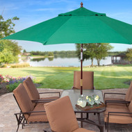 11-Ft Wood Patio Umbrella with Green Canopy - Commercial Grade GRUFF887471