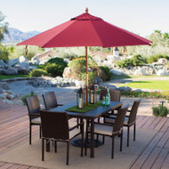 Commercial Grade 9-Ft Wood Market Umbrella with Burgundy Red Sunbrella Canopy WPB4841861