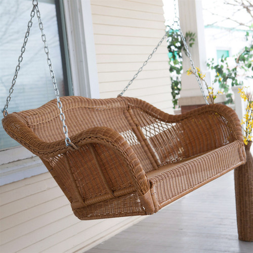 Honey Resin Wicker Porch Swing With Comfort Spring And