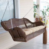Walnut Brown All Weather Resin Wicker Porch Swing with Hanging Chain WCBRPS5793164