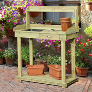Natural Wood Potting Bench Table with Sink and Outdoor Storage Spac MBPB65181