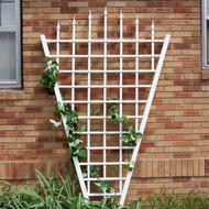7.75 Ft Fan Shaped Garden Trellis with Pointed Finals in White Vinyl DTWV989153