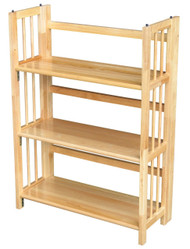 3-Shelf Folding Bookcase Storage Shelves in Natural Wood Finish CH3SB5742
