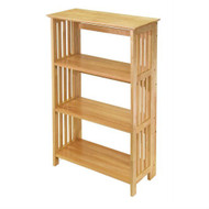 4-Shelf Wooden Folding Bookcase Storage Shelves in Natural Finish WF4TSN619-3