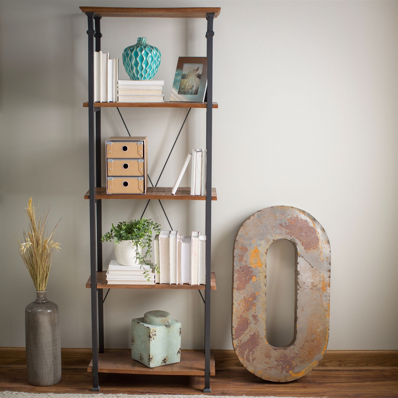 4-Shelf Bookcase, Vintage Industrial Style