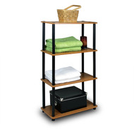 4-Tier Storage Shelf Display Rack Bookcase in Cherry Finish 4TTSCF3199-4