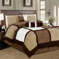 King size 7-Piece Bed in a Bag Patchwork Comforter set in Brown White SPB72561