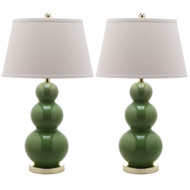 Set of 2 - Fern Green Ceramic Table Lamp with White Cotton Shade SL1529815-4