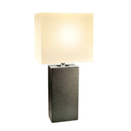 Contemporary Black Leather Table Lamp with White Fabric Shade CEML309542-6