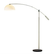 Arch Floor Lamp in Satin Steel with White Dome Shade and Round Black Marble Base AORF169541-4
