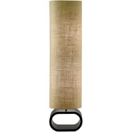 Cylinder Shape Medium Brown Burlap Floor Lamp with Bent Wood Base AHFLB10051-4