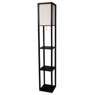 Black 3-Shelf Modern Floor Lamp with Beige Linen Shade 3SWFLB4995-4