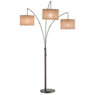 Modern 3-Light Arch Floor Lamp in Antique Bronze with Drum Style Shades ATLB151483-4