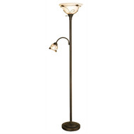 Dark-bronze finish Torchiere Floor Lamp with Side Reading Lamp NL405898-4