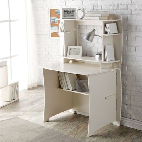 white home office computer writing desk with hutch