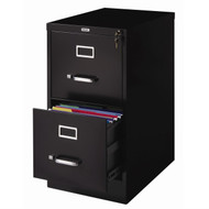 2-Drawer Vertical Filing File Cabinet with Lock in Black Metal 2DLVF10124