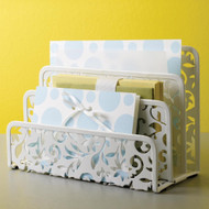 White Metal Letter Holder with Floral Pattern DIVLH1723