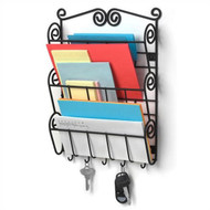 Wall Mounted Letter Holder Mail Sorter in Black Metal w/ Key Hooks SWMLHB1901