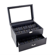 Glass Top Watch Jewelry Box Storage Case in Black GTJB89841-3