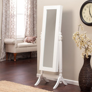 Full Length Tilt Cheval Mirror Jewelry Armoire Cabinet, Gloss White Wood Finish HJAW1859681815-4