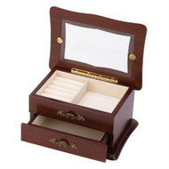 Glass Window Top Keepsake Jewelry Box in Medium Brown Wood Finish KWJB153515-3