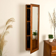 Wall Mount Jewelry Armoire Cabinet and Mirror in Oak Wood Finish WMJAB8519814-4