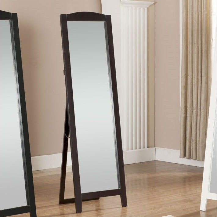 Functional classic full length leaning floor mirror with for Full length mirror black frame