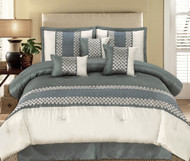 11pc Andrea Grey Luxury Bedding Set-1346-