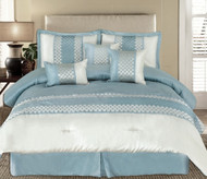 11pc Andrea Light Blue Luxury Bedding Set