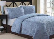 3pc Anq. Blue Luxury Quilt Set-1509-queen