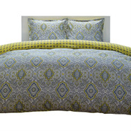 Full/Queen 100% Cotton Damask 3 Piece Comforter Set in Yellow / Blue C3PBG5346