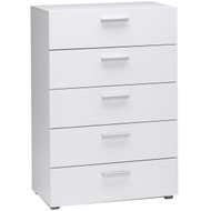 Contemporary 5-Drawer Bedroom Storage Dresser Chest in White TA5DW12954