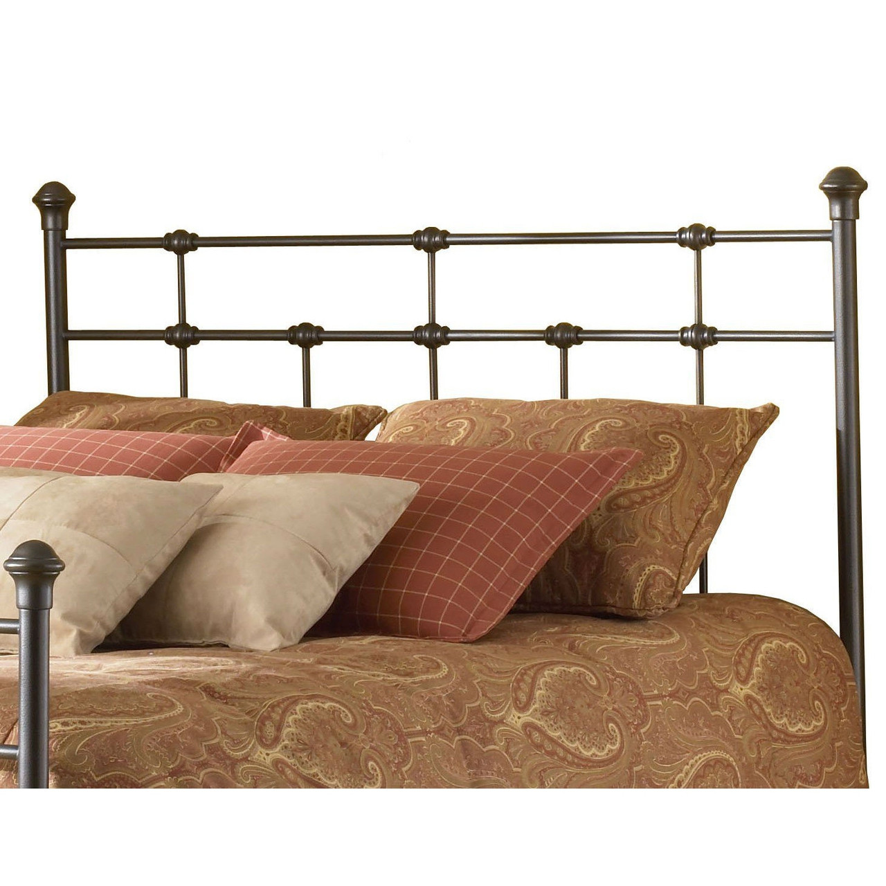 Twin Size Classic Design Metal Headboard In Hammered Brown
