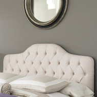 King size Button-Tufted Upholstered Headboard in Ivory Color FBGKH296