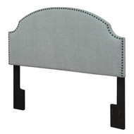 Full/Queen size Nailhead Upholstered Headboard in Soft Turquoise Linen Fabric DANHT1704