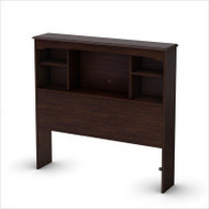 Twin size Contemporary Bookcase Headboard in Havana Brown Finish WTBH398093