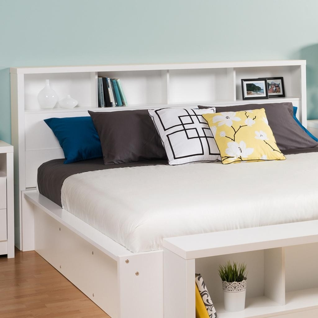 King size bookcase headboard with storage shelves in white for Headboard storage unit
