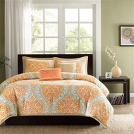 Twin size 4-Piece Orange White Damask Print Comforter Set TSDC8714631