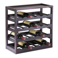 20-Bottle Wine Rack Stackable Modern Style in Espresso KWRE4572621