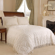 King size 100% Cotton Chenille Bedspread in White Ivory Light Beige Ecru with Fringe Sides KMBS51982151