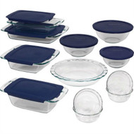 19-Piece Glass Cookware Bakeware Set with Blue Lids PGB49951