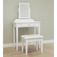 Contemporary White Vanity Set with Beveled Mirror MHW185388