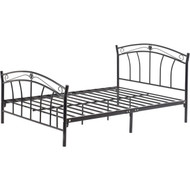 Full size Black Metal Platform Bed with Curvy Headboard and Footboard FMPBC1985412