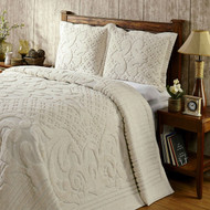 Full size 100-Percent Cotton Chenille Bedspread in Ivory FBSKA1498421