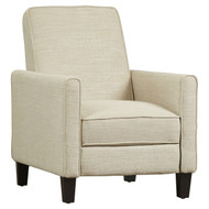 Club Chair Recliner Lounge in Light Beige Linen Upholstery LBCR5189842