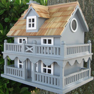 Light Blue Wooden Cottage Bird House with Removable Back LBNC5419
