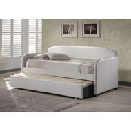 Twin Modern White Faux Leather Daybed with Roll-out Trundle WFLDH453