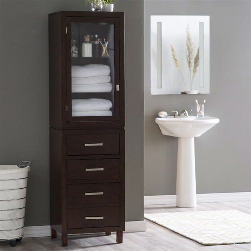Espresso Wood Linen Tower Bathroom Storage Cabinet, Glass Paneled Door